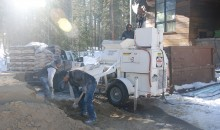Our flatwork crew sets up outside the building, mixing Levelrock RH and pumping the material into the building.